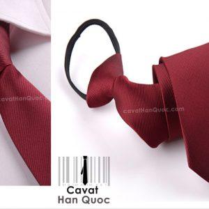 Cà vạt thắt sẵn khóa kéo màu đỏ mận
