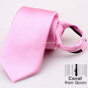 Cà vạt thắt sẵn khóa kéo màu hồng
