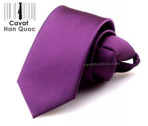 Cà vạt thắt sẵn khóa kéo màu tím