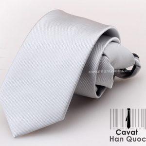 Cà vạt thắt sẵn khóa kéo màu xám sáng
