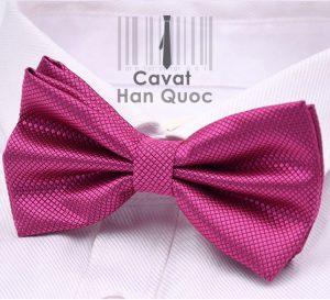 Nơ đeo cổ nam màu tím hồng ô vuông