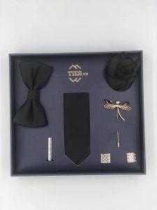Set cà vạt màu đen kẻ sọc chéo đen đậm