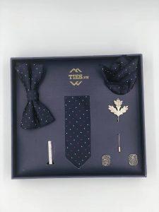Set cà vạt màu xanh than chấm bi đỏ trắng
