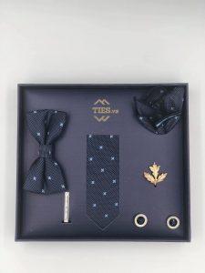 Set cà vạt màu xanh than họa tiết hoa xanh da trời