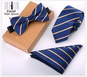 Bộ set cà vạt bản nhỏ xanh than kẻ vàng