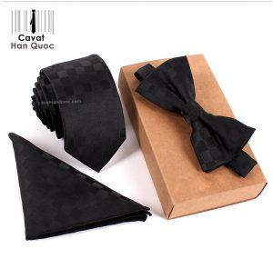 Bộ set cà vạt đen caro hình thoi đen xám bản nhỏ