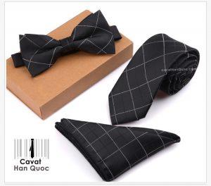 Bộ set cà vạt đen kẻ caro đen trắng bản nhỏ