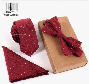 Bộ set cà vạt đỏ chấm bi trắng nhỏ