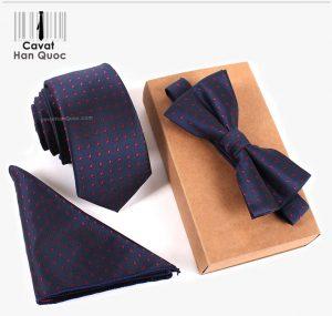 Bộ set cà vạt xanh than chấm bi đỏ bản nhỏ