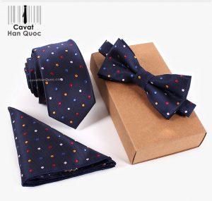 Bộ set cà vạt xanh than chấm bi nhiều màu bản nhỏ 6cm