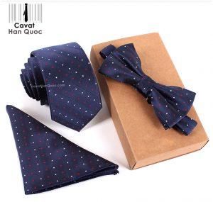 Bộ set cà vạt xanh than chấm bi trắng đỏ