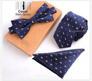 Bộ set cà vạt xanh than họa tiết bông hoa và con chó