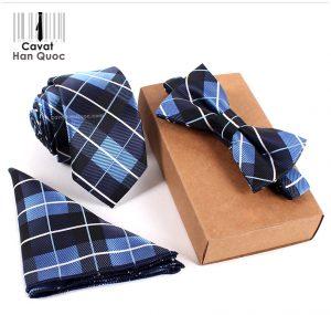 Bộ set cà vạt xanh than kẻ caro xanh dương trắng