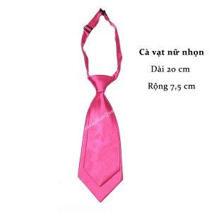Cà vạt nữ hồng đậm trơn bóng thắt sẵn