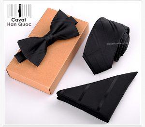 Bộ set cà vạt bản nhỏ 6cm đen kẻ sọc chìm đen