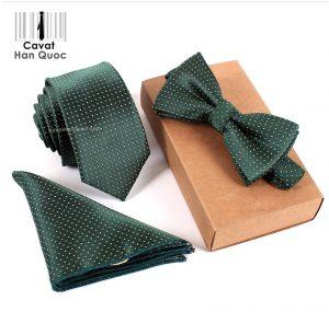 Bộ set cà vạt xanh lá đậm chấm bi trắng bản nhỏ 6cm