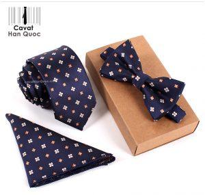 Bộ set cà vạt xanh than hoa trắng cam bản nhỏ 6cm